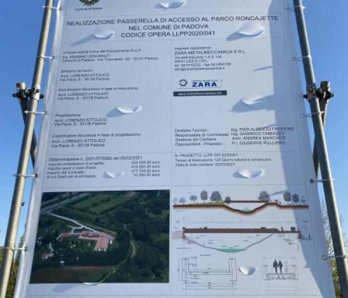 Camin: nuova passerella sul Roncajette